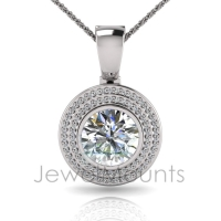 Round Bezel Double Halo Pave Set Enhancer - Click for more info