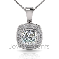 Cushion Bezel Double Halo Pave Set Enhancer - Click for more info