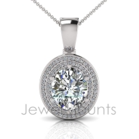 Oval Claw Double Halo Pave Set Enhancer - Click for more info