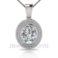 Oval Bezel Double Halo Pave Set Enhancer - Click for more info