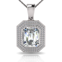 Emerald Bezel Double Halo Pave Set Enhancer - Click for more info