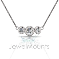 Three Stone Bezel Set Pendant - Click for more info