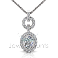Tube Set Oval Halo Pendant - Click for more info