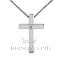 Single Bezel Set Cross Pendant - Click for more info