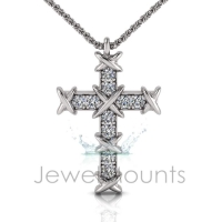 Pave Set 'X' Cross Pendant - Click for more info