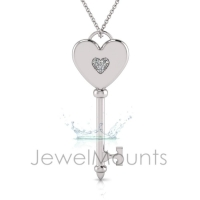 Solid Heart Key Pendant - Click for more info