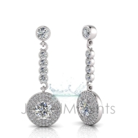 Round Claw Double Halo Pave Set Drop Earring - Click for more info