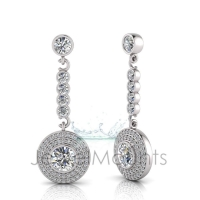 Round Bezel Double Halo Pave Set Drop Earring - Click for more info