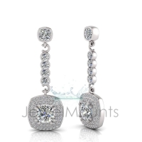 Cushion Claw Double Halo Pave Set Drop Earring - Click for more info