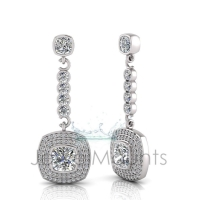 Cushion Bezel Double Halo Pave Set Drop Earring - Click for more info