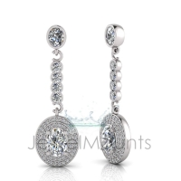 Oval Claw Double Halo Pave Set Drop Earring - Click for more info