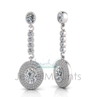 Oval Bezel Double Halo Pave Set Drop Earring - Click for more info