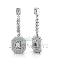 Emerald Bezel Double Halo Pave Set Drop Earring - Click for more info