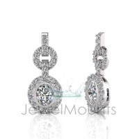 Tube Set Oval Halo Earring - Click for more info