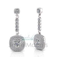 Cushion Bezel Double Halo Scallop Set Drop Earring - Click for more info