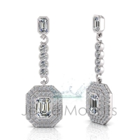 Emerald Bezel Double Halo Scallop Set Drop Earring - Click for more info