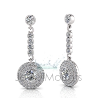 Round Bezel Double Halo Scallop Set Drop Earring - Click for more info