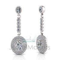 Oval Bezel Double Halo Scallop Set Drop Earring - Click for more info