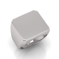 Gents Emerald Cut Shaped Signet Ring - Click for more info